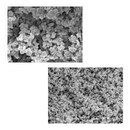Influence of the 60% (top) and 64% (bottom) of 1-propanol in the porogenic solvents on the porous properties of monolith